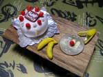粘土のケーキ&バナナ