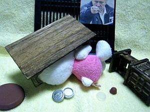 机の下に潜り込むナラリーノ